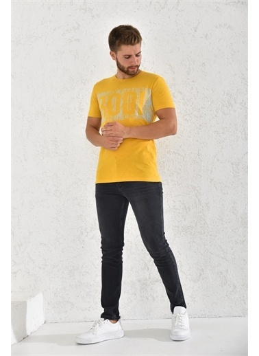 Rodi Jeans Rodi Erkek Flamlı Rodi Baskılı T-Shirt Rd21Ye270002 Hardal